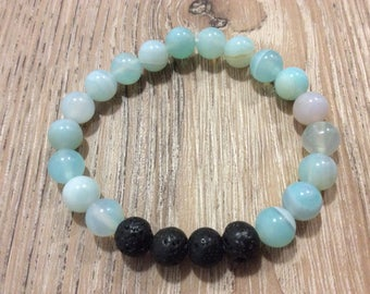 Aromatherapy lava bead diffuser bracelet for essential oils- 8 mm banded agate beads