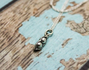 Two Peas in a Pod Necklace in Sterling Silver