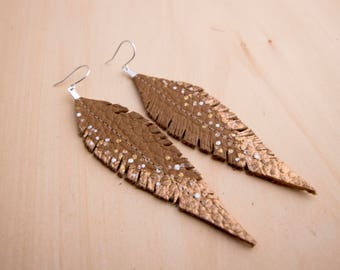 Tan, Silver and Copper Hand-painted Reclaimed Leather Feather Earrings