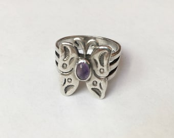 vintage Carolyn  Pollack butterfly ring with amethyst, size 7.75