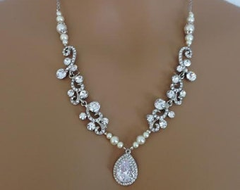 bridal rhinestone necklace country wedding necklace mother of bride rhinestone pearl jewelry rhinestone pendant teardrop pendant rhinestone