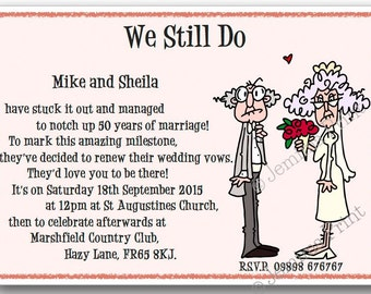 Printed Personalised Wedding Vow Renewal Invitations x10 with envelopes