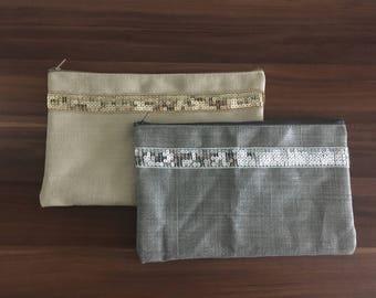 Linen pouch with sequins / linen pencil case / sequins clutch /linen pencil case / Linen pouch / cosmetic bag /