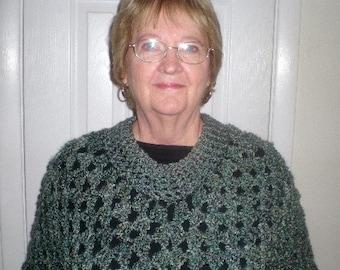 Poncho, Crochet, Womens Fashions, Accessories, Wrap, Shawl, Green