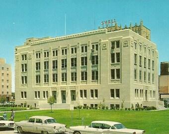Vintage 1950s Postcard Texas Midland County Courthouse Building Government Architecture Photochrome Era Postally Unused