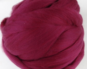 Wool Roving, Merino Roving, Merino Wool, Merino Wool Roving, Felting Wool, Spinning Wool - Ruby - 8oz