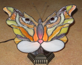 Stained Glass Fan Lamp Tiger Butterfly  PDF Instructions and Pattern