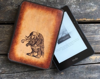 Kindle Leather Cover - Musical Elephant - Customizable - Free Personalization