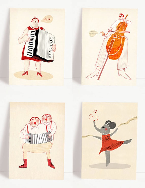 Set Of 4 Various Music Postcards Music Greeting Cards