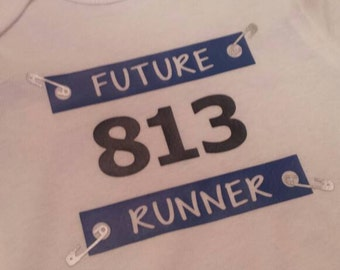 Future Runner race bib onesie with custom number & color