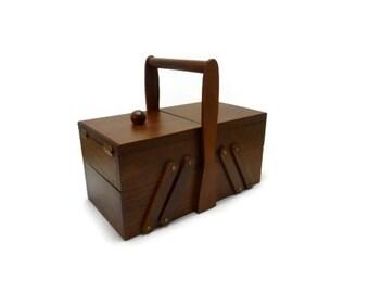 Wood sewing box accordion vintage style