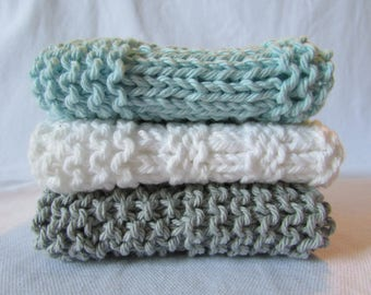 Set of 3 Soft Grey, Blue & White Wash Cloths