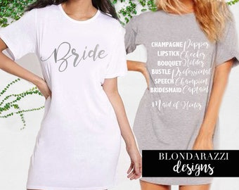 Bride Bridesmaid Maid of Honor Duties Shirts for Day of Wedding Getting Ready Tunic Style Dresses Robe Alternative
