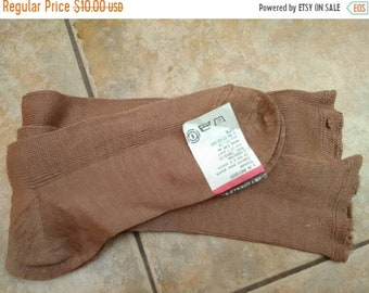 Ladies long socks labeled, cotton, brown, never used, thick, crimped