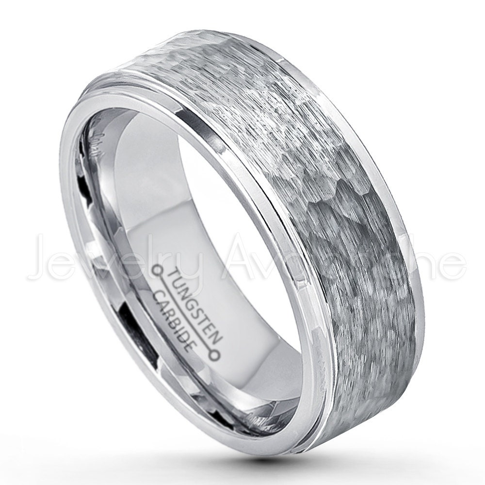 Hammered Finish Bands: 9mm Hammered Finish Tungsten Wedding Band Stepped Edge