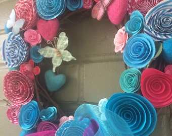 RESERVED FOR TABITHA, pink and turquoise wreath, paper flowers  wreath,  floral wreath, colorful wreath,