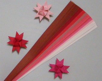Shades of Red & Pink Paper Strips for making Moravian German Froebel Stars - various sizes (100 strips per pack)