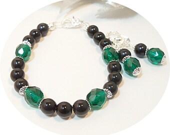 Grün, schwarz, Schmuck, Armband und Ohrringe Set, Ohrringe und Armband, Brautjungfer Schmuck, sattes Grün, Smaragdgrün, Weihnachts-Schmuck
