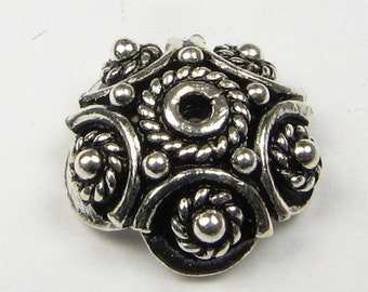 Large Detailed Bali Sterling Silver Bead Caps 10mm (2 caps)