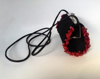 SALE Felt bag, black bag, women bag, uncommon bag, handmade bag, bag with howlites,small bag, bag with earwire