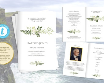 Printable greenery funeral program, foldable order of service template, photos optional | Man's funeral ideas, humanist obituary