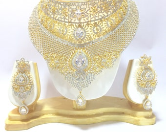 Traditional Indian Bollywood Style CZ Gold Plated Wedding Necklace Bridal Set