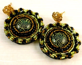 Green and Gold Dichroic Glass and Gold Vermeil Earrings