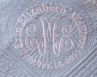 Monogrammed Gray Baby Quilt -  - Monogrammed / Embroidered Baby Blanket
