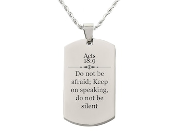 Acts 18:9 Tag Necklace - SSDOGTAG-ACTS18.9-SLV - Silver