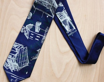 Hand printed Silk Necktie in navy blue silk with green and silk hand drawn architectural imagery, original and one of a kind
