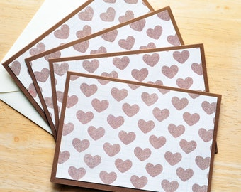 Heart Note Cards // Set of 4 // Blank Cards // Stationary Set // Wedding Cards // Love Notes // Just Becuase // Thinking of You