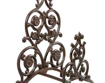 Hose Holder Cast Iron Big Flower Decorative Hose Reel Hanger Antique Rust & Verdigris