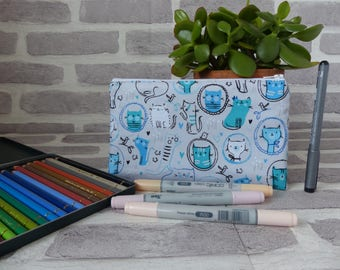 Cat pencil case, blue cat pencil case, school supplies, back to school, cat lover, cat gift, university supplies, gift for cat lover,