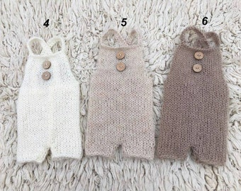 SALE! Knit mohair romper Wooden button coconut Newborn romper newborn photo prop  Handmade
