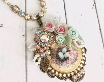 beautiful robins nest assemblage necklace with Swarovski crystals handmade porcelain flowers pearls and beads #1058-12