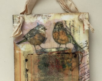Encaustic Wallhanging - Wax Collage - Birds Art - Encaustic Art
