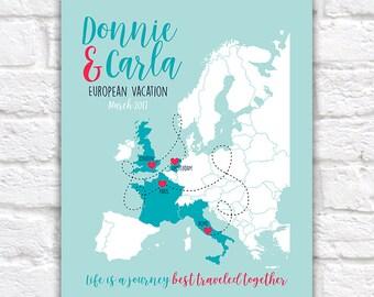 European Vacation, Honeymoon, Travel Map - Any Europe Locations, Couples Honeymoon Map, Life Journey, London, Paris, Rome, Wedding | WF477
