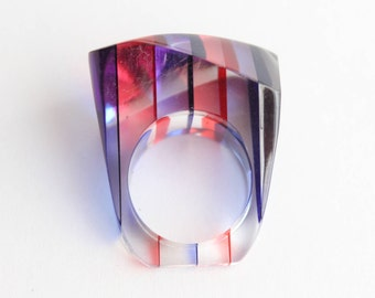 Vintage Red And Blue Chunky Lucite Ring . Size 6.5