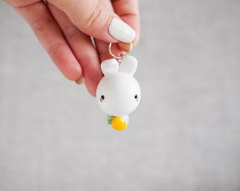 Mint White Bunny with Carrot Keychain - Bunny Charm Keychain - Cute Planner Charm