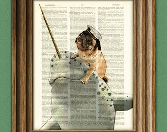 Captain Grumbles the Sea Pug on his trusty Narwhal, Noodles dog original art dictionary page book art print