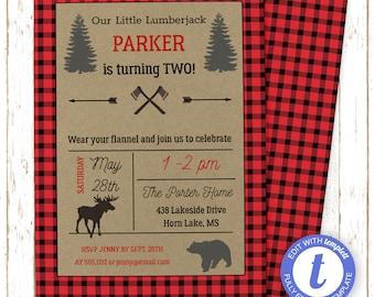 Lumberjack Invitation   Lumberjack Birthday Invitations   Buffalo Plaid   Printable Editable Digital PDF File   Templett   KBI643DIY