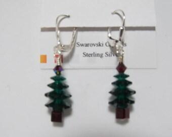 Earrings Jewelry, Christmas Tree Earrings, Green Swarovski Crystal Earrings, Holiday Earrings, Dangle Earrings, Choose Ear Wire Style