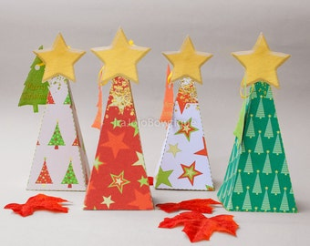 8 different Christmas tree Favor Box Set for Christmas Party