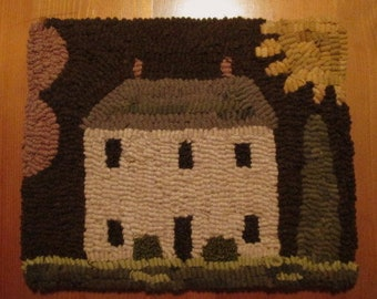 Primitive House Hooked Rug