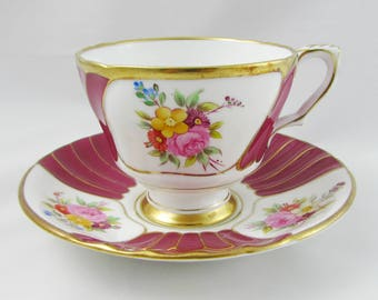 Royal Stafford Red Tea Cup and Saucer, Red with Floral Spray, Vintage Bone China