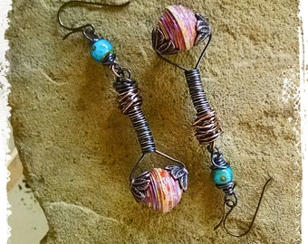 Wire Wrapped Boho Dangle Earrings Long, Hippie Gypsy Beaded Copper Earrings, Paper Bead Jewelry, First Anniversary Gift for Her