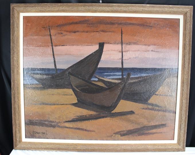 Fine Art Oil Painting on Board, Alberto Tommi (1917-1960) Canada Boats on Beach Seascape Home Decor