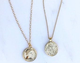 Gold Elizabeth Coin Necklace, Gold Coin Necklace, Gold Medallion Disc Necklace, Greek Coin, Everyday Necklace, Queen Elizabeth Necklace