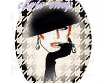 cabochon 18x25mm, couture, hat and gloves