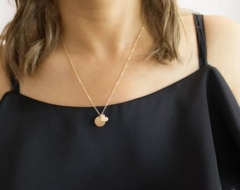 Disc and Heart necklace, Sterling Silver, Gold, Rose Gold • NDV13H0